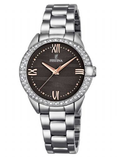 F16919/2 Festina Swarovski Crystal Ladies Watch Round Grey Dial Bracelet